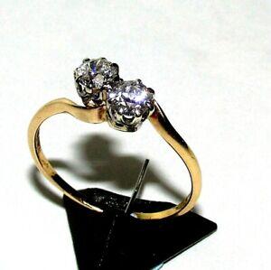 DAZZLING 1939 18ct YELLOW GOLD TOI & MOI 0.80ct+ DIAMOND TWIST RING SIZE Q