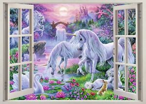 Unicorn Castle Fantasy Fairy Horse 3d Smashed Wall View Sticker Poster Art Z161