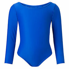 Child Girls Leotard Sleeved Stretchy Dance Gymnastics Ballet Sports Uniform Top