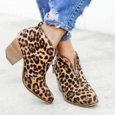 Women Mid Block Heel Leopard V-Cut Zip Up Boots Ankle Boots Size 37 China  NWOB