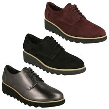 LADIES CLARKS LEATHER LACE UP CUSHION SOFT LIGHTWEIGHT CASUAL SHOES SHARON NOEL
