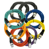 SEISMIC AUDIO (8 PACK) 10' XLR Microphone Cables 6 Color Coded & 2 Black Cords