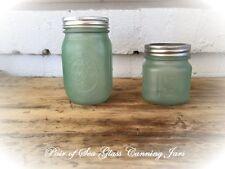 Farmhouse 2 Sea Glass Blue Green Mason Embossed Fruit Canning Jars Metal Lids
