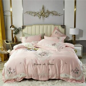 Elegant Embroidery Bedlinen Pink Bedding Set King Queen Size Bed Egyptian Cotton