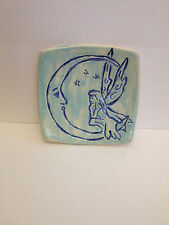 Fairy Moon carved square plate porcelain nc potter Helen Seebold