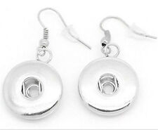 Wholesale Silver Charm Earrings Pendant Fit Snap Buttons Jewelry Interchangeable