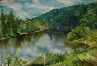 Russian Ukrainian Soviet Oil Painting Landscape impressionism lake forest