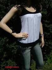 24/5 NEW CRYSTAL WHITE BLACK RACING BACK SLEEVELESS SCOOP NECK TOP 10