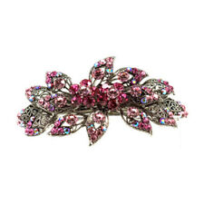 Hand Made Hair Jewelry Large swarovski crystal Bouquet Barrette, Pink Rhinestone