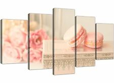 Extra Large Pink Cream French Shabby Chic Bedroom Abstract Canvas 5 Piece - 5284