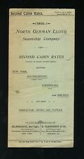 1900 North German Lloyd Second Cabin Rates and Schedule Brochure