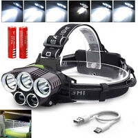250000LM 5X T6 USB LED Headlamp Rechargeable Head Light Flashlight Torch Lamp