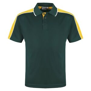 Mens Polo Shirts Contrast Short Sleeve Breathable Sports Anti Bacterial Top Tee
