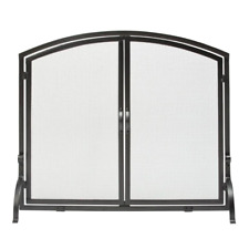 Black Wrought Iron 39 In. W Single-Panel Durable Fireplace Screen With Doors And
