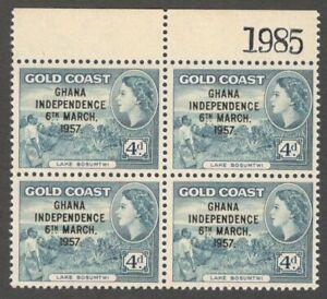 AOP Gold Coast 1957 Independence 4d MNH serial # block of 4 SG 27 £16