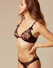 Agent Provocateur PETRA BRA 36D & BRIEF AP Size 3 or 4 in BLACK/ NUDE - BNWT