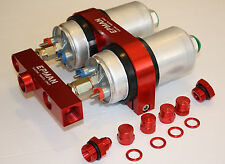 600lph INLINE EXTERNAL PERFORMANCE FUEL PUMP dual 044 bracket manifold 1000HP