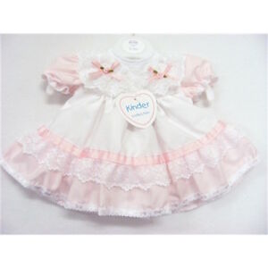 Baby Girls Traditional Romany Pink/White Ribbon & Lace Frilly Dress *Small Fit*