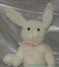 "Vintage 80s Boyds Plush Beanie Jointed 12"" Shaggy White Bunny Rabbit w/White Tag"