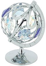 Crystocraft  Freestanding Silver Plated Swarovski Round The World Globe Ornament