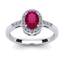 14K WHITE GOLD 1.12CT RUBY AND DIAMOND HALO RING, SIZE-7
