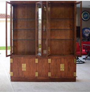 Henredon Scene Two Campaign Hutch Displays with Cabinet Curio Shelf
