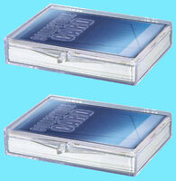 2 ULTRA PRO 35 COUNT CLEAR HINGED CARD STORAGE BOX Case Holder Sports Trading