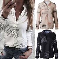 Women V Neck Letters Print Shirt Button Long Sleeve T-Shirt Tops Blouse Casual