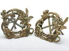 Vintage Art Noveau Fairy Brass Picture Frames Set (2)