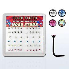 1 x Nose Bone Stud Black Sterling Silver L Shape 20g Tiny 1.5mm gem Many Colors*