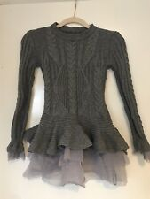 Grey Cable Knit Tutu Jumper Tiered Size S Oaf Lazy