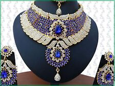 INDIAN JEWELLERY SET KUNDAN STYLE GOLD PLATED BLUE CLEAR STONES NEW AQ-64