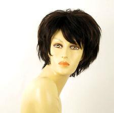 perruque femme 100% cheveux naturel carré méchée noir/cuivré TINA 1b30