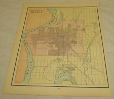 Late 1800s COLOR MAP of COUNCIL BLUFFS, IA, b/w IOWA