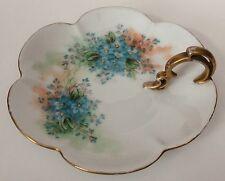Antique Z.S. & C Bavaria Lemon Dish Plate Blue Forget Me Nots Gold Trim Handle