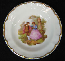 Porcelaine Limoges France sweet 4 inch bon bon dish with scene of figural couple