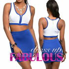 SEXY LADIES TWO PIECE SET MINI SKIRT CROP TOP DRESS Size 2 4 6 8 10 XS S M