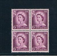 """New Zealand 1955-59 - 6d QEII Portrait """"Violet"""" - BLK/4 - SC 311 [SG 750] MNH 19"""
