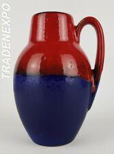 Vintage 60-70 SCHEURICH KERAMIK 414-16 Blue Red Vase W German Pottery Fat Lava