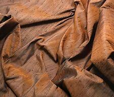 "Silk DUPIONI Fabric Burnt Orange Black fat 1/4 18""x27"" remnant"