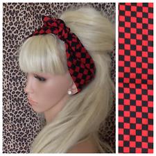 NEW RED BLACK CHECK CHEQUERED PRINT BANDANA HEADBAND HAIR NECK SCARF MOD RETRO
