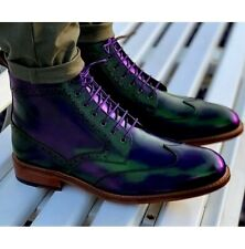 KICKERS HIGH ANKLE PURPLE PATINA WINGTIP GENUINE LEATHER MEN HIKING LONG BOOTS