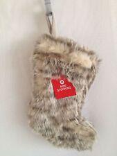 "MINI FAUX FUR 9.5"" Christmas Stocking BROWN Holiday Mantle Decor Target"