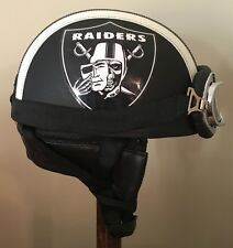 Custom Leather Oakland Raiders Motorcycle Helmet With Goggles One Size New!!