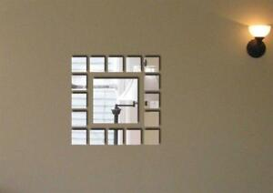 Squares Arrays Modern Acrylic Mirror Wall Home Decal Decor Vinyl Art Stickers
