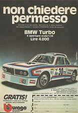 X9213 BMW Turbo BBURAGO - Pubblicità 1977 - Advertising