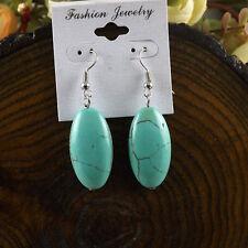 Nice & Simple New Tibetan Silver Turquoise Oval Bead Dangle Drop Earrings