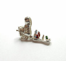 Vintage Silver Charm Boot Opens To Family 925 Sterling 2.6g