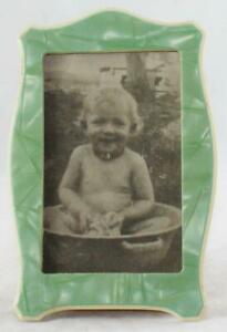 "6 3/4""-Photo-Frame/Holder-Green Pearlized-Desk/Shelf-Beautiful-Child in Dish Pan"