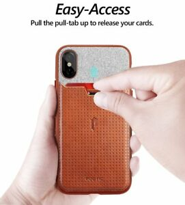 For Apple iPhone XS / X PU Leather Phone Case w/Credit Card Slot Brown